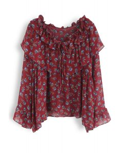 Vivacious Ruffle Floral Chiffon Top in Red