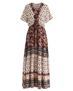 Boho Bomshell Floral Maxi Dress in Black