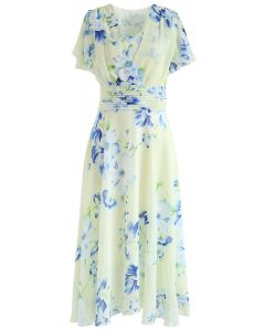 Sweet Surrender Floral Chiffon Dress in Cream
