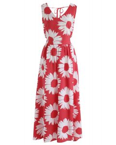 Sunflower Glow Open Back Maxi Dress in Red