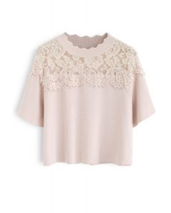 Best Part Lace Trimmed Knit Top in Nude Pink