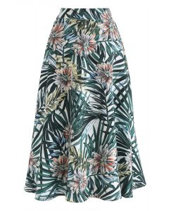 Tropical Fact A-Line Midi Skirt