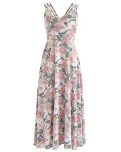 Perfect Sunday Lily Print Cross Back Cami Dress
