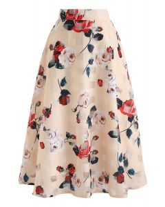 Wild Rose Floral A-Line Midi Skirt in Apricot