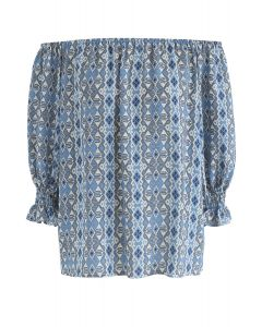 To Be You Off-Shoulder Chiffon Top