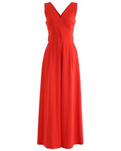 Eternal Elegance Wrapped Jumpsuit in Red