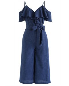 Blue Monday Cold-Shoulder Jumpsuit