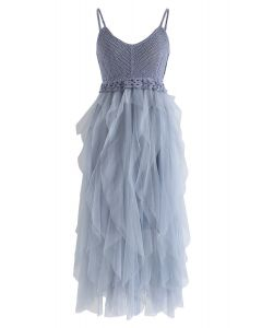 Knit Ruffled Mesh Cami Dress in Blue