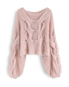 Hand-Knit Puff Sleeves Sweater in Pink