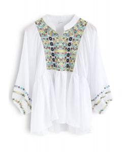 Puff Sleeves Boho Embroidered Dolly Top in White
