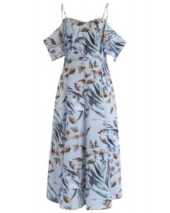 Leaves Print Cold-Shoulder Maxi Dress