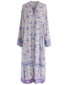 Boho Printed Open Front Longline Kimono