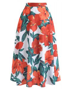 Morning Glory Print Midi Skirt in Orange