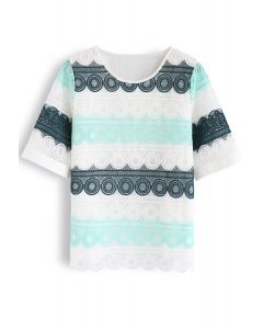 Color Blocked Crochet Smock Top in Mint