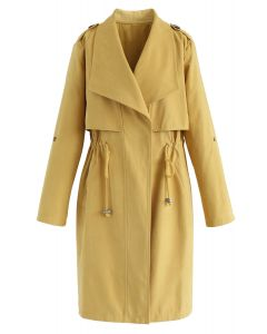 Drawstring Waist Longline Trench Coat in Mustard