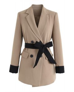 Self-Tied Bowknot Double-Breasted Blazer in Tan
