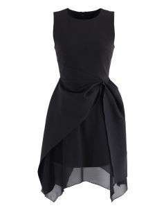 Asymmetric Hem Sleeveless Dress in Black