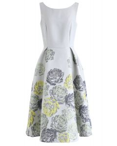 Floral Embossed Sleeveless Dress