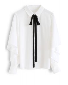 Self-Tied Bowknot Chiffon Shirt with Ruffle Sleeves