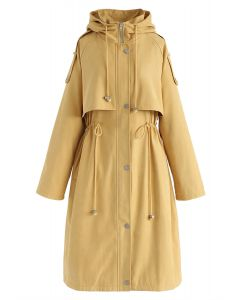 Drawstring Waist Hooded Trench Coat in Mustard