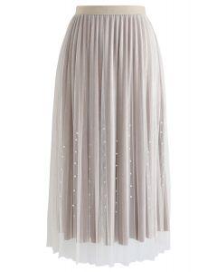 Pearl Trims Velvet Mesh Pleated Skirt in Cream
