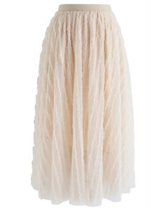 Ripple Ruffled Tulle Mesh Midi Skirt in Cream
