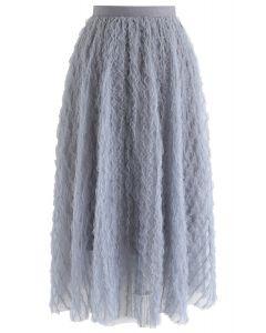 Ripple Ruffled Tulle Mesh Midi Skirt in Dusty Blue
