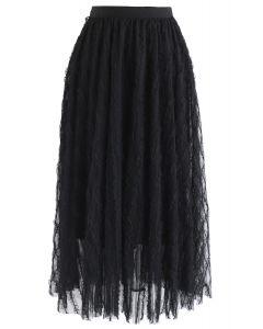 Ripple Ruffled Tulle Mesh Midi Skirt in Black