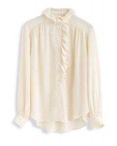 Button Front Ruffle Hi-Lo Shirt in Cream