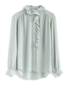 Button Front Ruffle Hi-Lo Shirt in Mint