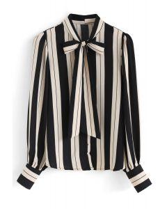 Bowknot Neck Stripe Button Down Shirt