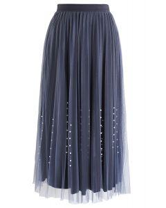 Pearl Trims Velvet Mesh Pleated Skirt in Navy