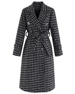 Glittery Double-Breasted Longline Tweed Coat