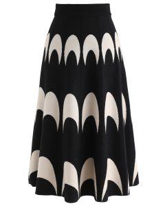 Moon Pattern Knit A-Line Midi Skirt in Black