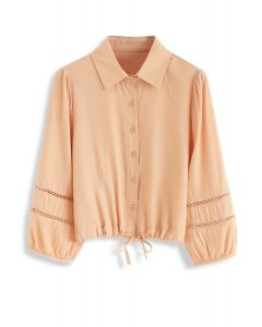 Drawstring Button Front Shirt in Orange