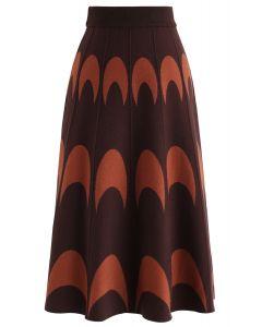 Moon Pattern Knit A-Line Midi Skirt in Caramel