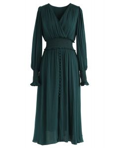 Satin Button Down Wrap Midi Dress in Dark Green