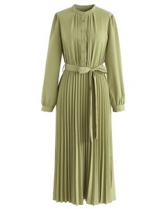 Self-Tied Bowknot Pleated Midi Dress in Moss Green