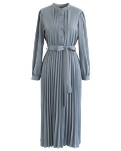 Self-Tied Bowknot Pleated Midi Dress in Dusty Blue