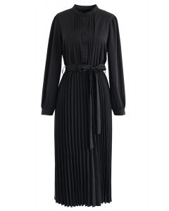Self-Tied Bowknot Pleated Midi Dress in Black