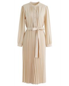 Self-Tied Bowknot Pleated Midi Dress in Cream