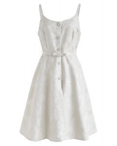 Jacquarded Button Down Cami Dress in Cream