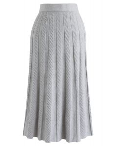 Parallel Pleated Knit Midi Skirt in Grey