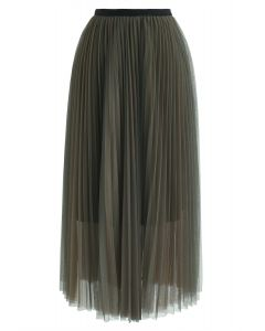 Double-Layered Mesh Tulle Skirt in Army Green