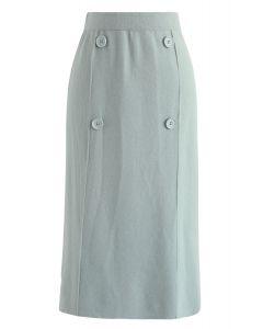 Button Trim Knit Midi Skirt in Mint