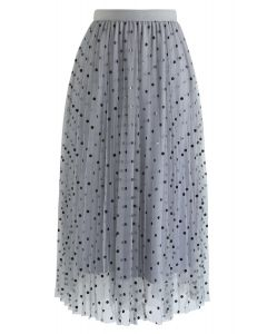 Polka Dot Double-Layered Mesh Tulle Skirt in Dusty Blue