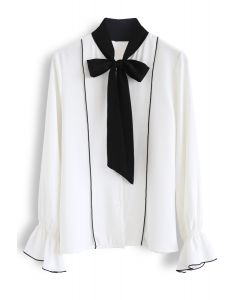 Contrasted Color Bow Neck Shirt in White