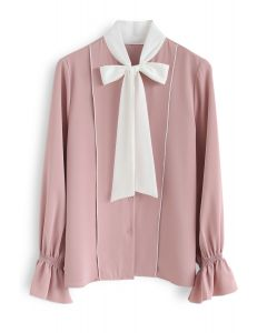 Contrasted Color Bow Neck Shirt in Pink