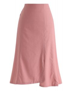 Asymmetric Hem Pencil Skirt in Pink