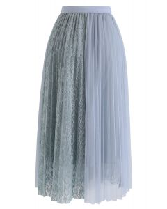 Lace Splicing Tulle Mesh Skirt in Dusty Blue
